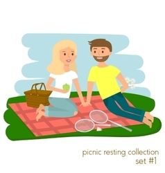 Young couple on picnic together Family picnic vector image