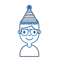 young man with party hat avatar character vector image