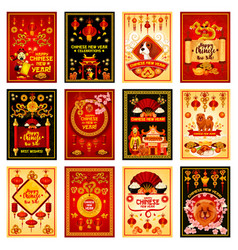chinese new year card set for asian holiday design vector image vector image