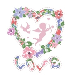 Floral frame in shape of heart vector image vector image