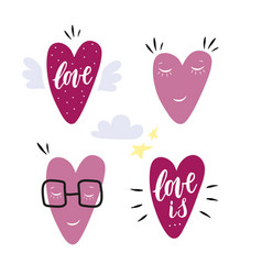 hand drawn hearts characters set of 4 icons with vector image vector image