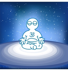 Meditating person in space vector