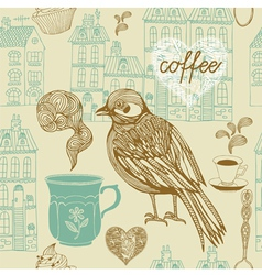 Vintage Birds Coffee Pattern vector image vector image