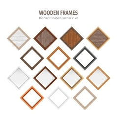 Wooden Diamond-Shaped Banners Set vector image vector image