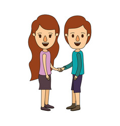 Color image caricature side view full body couple vector