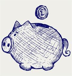 Gold coin fall into a piggy bank vector image