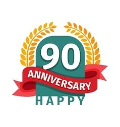 Happy ninetieth birthday badge icon vector