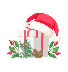santa claus hat lying on gift bow with red ribbon vector image