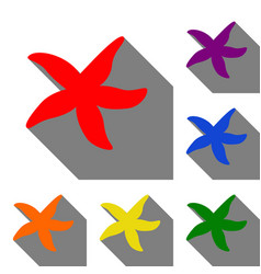 sea star sign set of red orange yellow green vector image