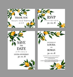 set of wedding cards invitation with lemon vector image vector image