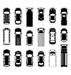 top view of different roof cars on the road black vector image