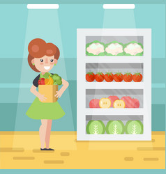 woman in grocery store vector image vector image