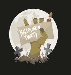 Zombie hand holding a banner vector image vector image