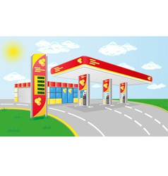car petrol station vector image