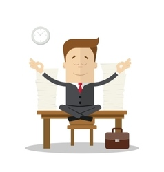 Cartoon businessman or manager meditating doing vector image vector image