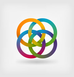 four interlocked rings in rainbow colors vector image