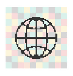 pixel icon globe on a square background vector image