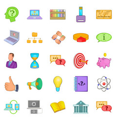 Sales revenue icons set cartoon style vector