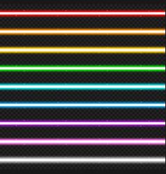 set of nine colorful laser beams vector image