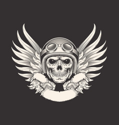 a skull racer in a helmet vector image vector image