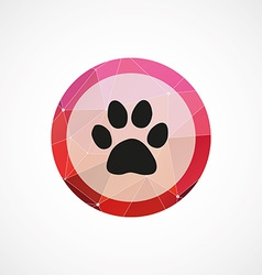 cat footprint circle pink triangle background icon vector image vector image