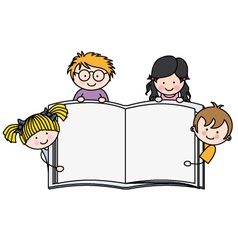 children with a book with blank pages vector image vector image