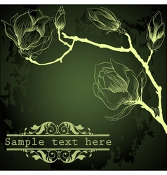 Dark green background with magnolia flowers vector image
