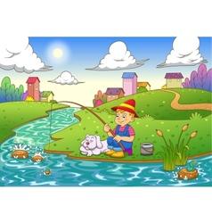 fishing boy vector image