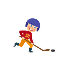 happy boy in helmet playing hockey winter sport vector image
