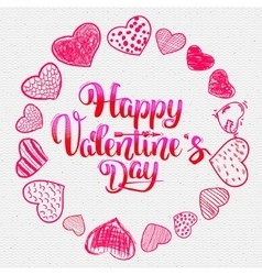 Happy valentines day lettering options and Doodle vector image