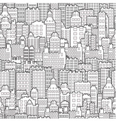 seamless background with city building monochrome vector image vector image