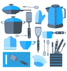 Set Isolated kitchen tools frying pan kettle vector image