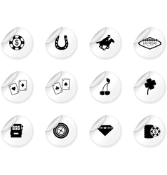 Stickers with Las Vegas icons vector image vector image