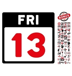 13 Friday Calendar Page Flat Icon With vector image