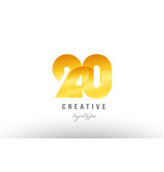 20 gold golden metal gradient number logo icon vector