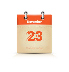 23 november calendar page thanksgiving day autumn vector
