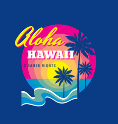 aloha hawaii summertime - badge vector image