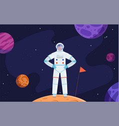 Astronaut in space red planet colonization vector