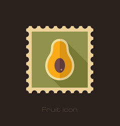 Avocado flat stamp tropical fruit vector