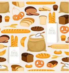 Bakery bread seamless pattern cartoon breads vector