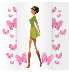 Beauty woman with butterfly vector