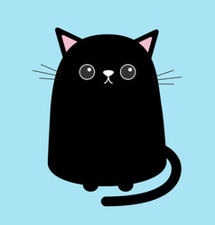 Black cute cat sitting kitten cartoon kitty vector