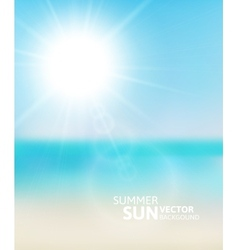 Blurry beach and blue sky with summer sun vector image
