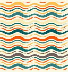 bright seamless pattern with hand drawn waves vector image