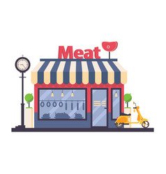 Butcher shop solated on white storefront vector