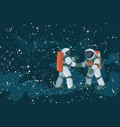 cartoon astronauts meeting and handshake on space vector image