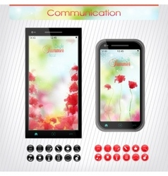 Cell phone with a bright floral headband The vector image