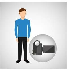 Character man movie concept video camera vector