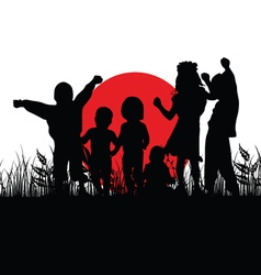 Children silhouette in nature with red sun vector