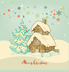 christmas idyllic card small house in snow vector image